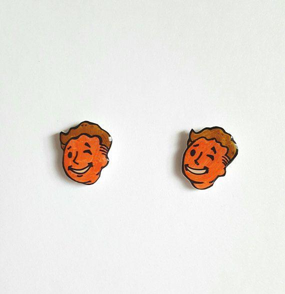 Vault Boy Fallout 4 Stud Earrings | Shrink Plastic, Cute, Game
