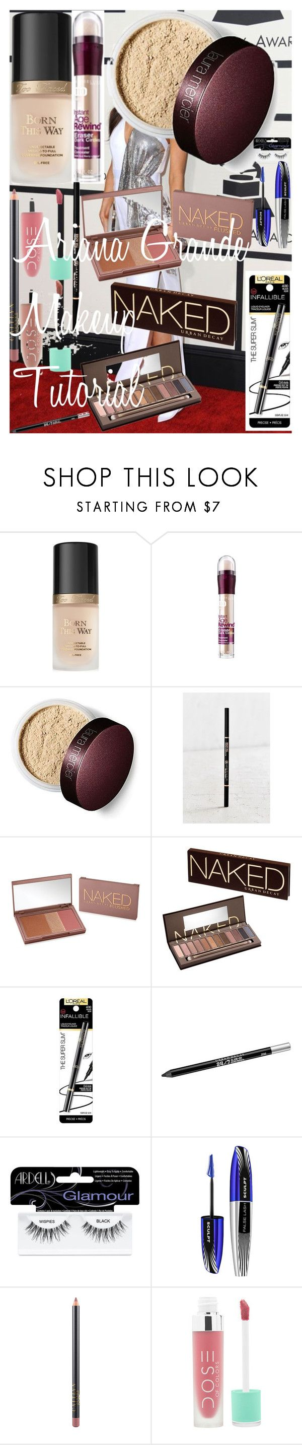 """""""Ariana Grande Makeup Tutorial"""" by oroartye-1 on Polyvore featuring beauty, Versace, Too Faced Cosmetics, Maybelline, Anastasia Beverly Hills, Urban Decay, L'Oréal Paris, Ardell and MAC Cosmetics"""