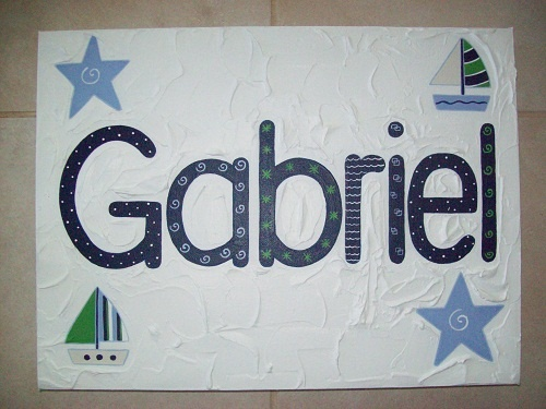 Boys Handpainted name canvas  30cm x 40cm  $55- + postage  Custom orders to suit individual decor