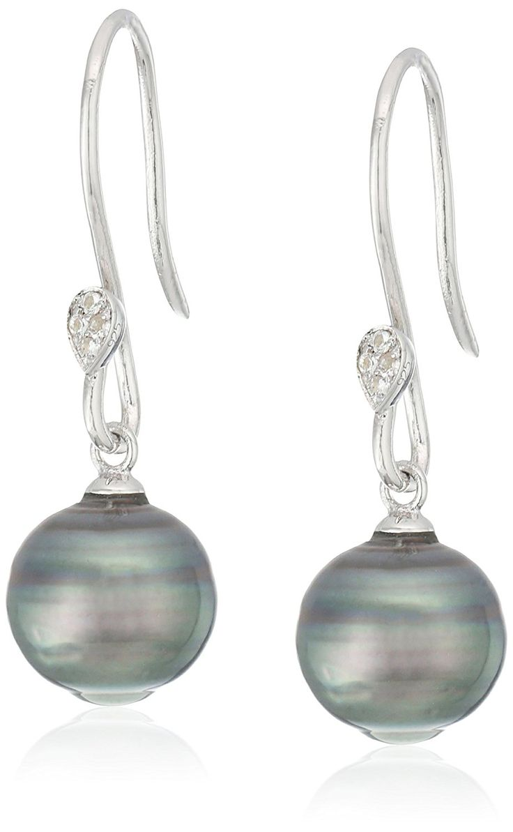 10-11mm Natural Color Circle Tahitian Cultured Pearl And White Topaz Shepperd Hook Sterling Silver Dangle Earrings ** Details can be found by clicking on the image. (This is an Amazon Affiliate link and I receive a commission for the sales)
