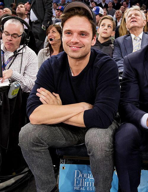 Sebastian Stan at the New York Knicks vs. Portland Trail Blazers game on November 22, 2016.