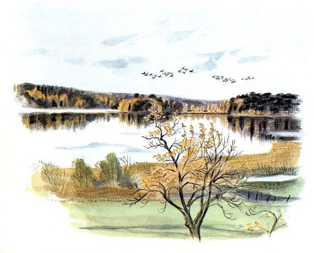 """""""Oktobersjö med skrakar"""" av Gunnar Brusewitz. Från boken """"Anteckningar från en strand"""""""