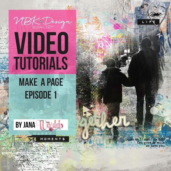 Make a Page Episode 1video tutorial by Jana using brushes, paints and making a page with NBK Design digital supplies