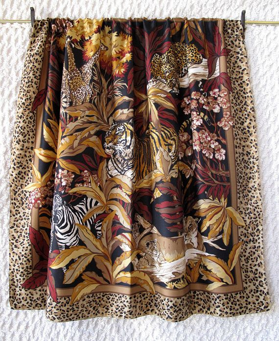 Giraffe Tiger Lion Zebra Curtain Upcycled Vintage Scarf Small