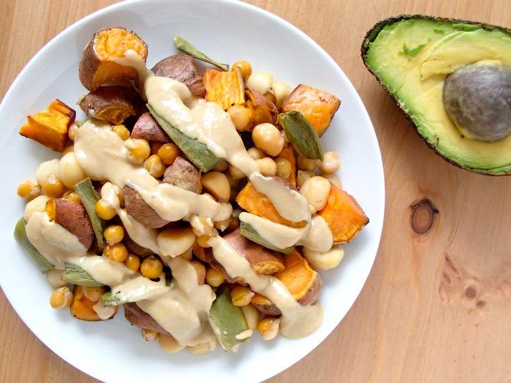 Macadamia, Chickpea & Sweet Potato Salad from www.skatingtomato.com #Cheap #Healthy #Vegan