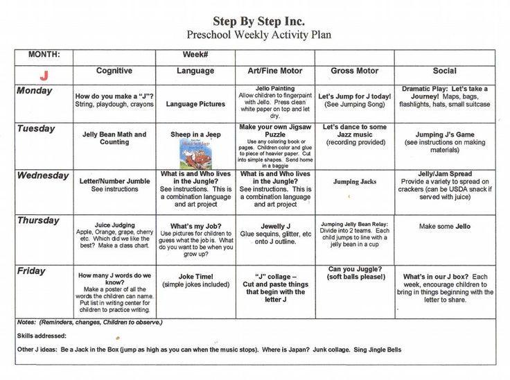emergent curriculum preschool lesson plan template   Preschool ...