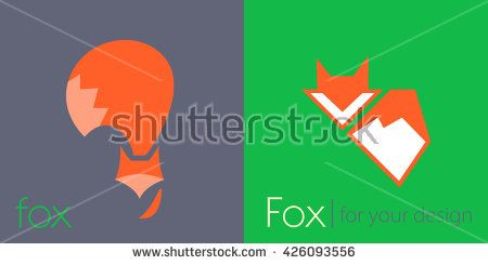 Red Fox logo icon with big tail - vector illustration, sign symbol - stock vector