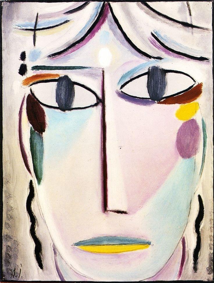 The Angel Gabriel 1920.El rostro,para Jawlensky,encierra un gran secreto, y ėl quiere y busca expresar lo espiritual que vive en una cara.Característico es el círculo blanco de luz en el centro de la frente.El azul del ojo es mas grande que el contorno, como si quisiera decir que la mirada es mucho mas grande que el ojo en sí mismo.