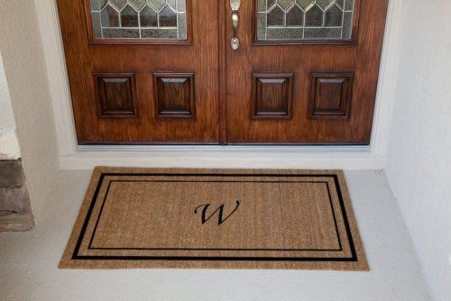 Personalized Doormats- 30 x 60 - Double Border - Monogrammed Doormat . $118.00. Electrostatically flocked designs.. Manufactured in the USA from natural coir fiber bristles.. Superior brush action to get the dirt off your shoes and out of your house.. Best used in a dry protected entranceway.. 5/8 inch thick. Great for low threashholds.. Classic coir mats are manufactured in the USA from natural coir (coconut) fiber bristles, which are inserted into a weatherproof vinyl b...