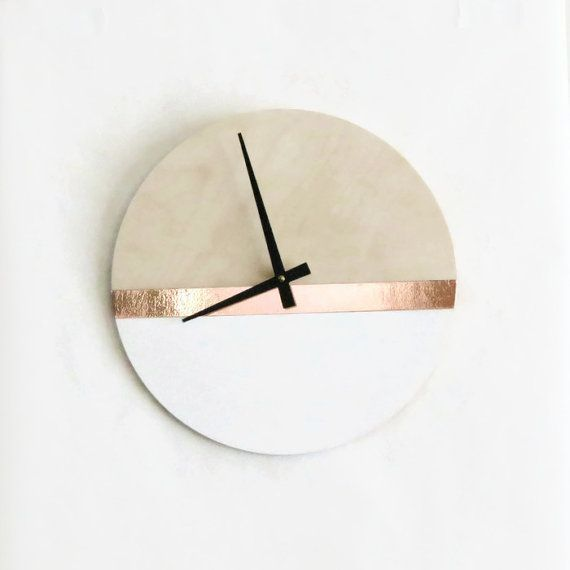 Modern Wall Clock Wood Copper And White Decor Housewares Home And Living Unique Wall Clock Clock Wall Decor Wall Clock Modern Large Wall Clock Modern