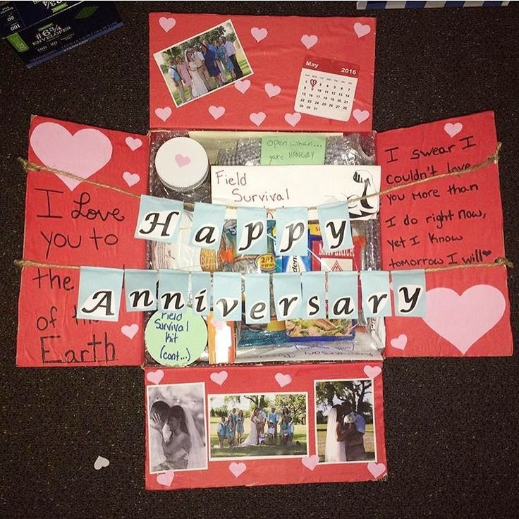 This Was My First Care Package I Sent Him And Also Our One Year Wedding Annive Dating Anniversary Gifts 4th Year Anniversary Gifts Girlfriend Anniversary Gifts
