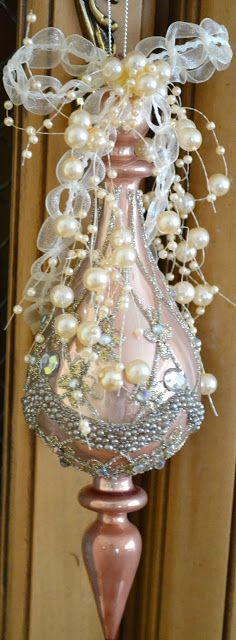 Christmas Pink Ornament W Pearls Victorian Boho Shabby Chic Chique