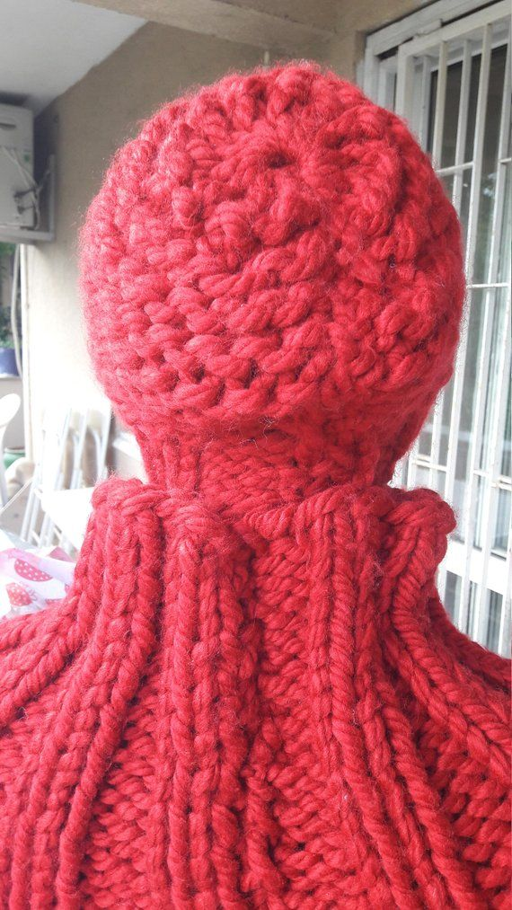 88b3b7ccdfeff Red Knit Scarf and Hat Set Chunky Knit Scarf and Beanie Hat Gift Set ...