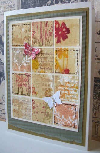 https://flic.kr/p/9q2QoY   The Village stamp used for a soft background and cut in squares. Sum of all unused layered cards   Instead of throwing away the papers of all the projects I started with the layering water color  technique, which didn't work out, I punched out the best parts and made a grid. Thanks to Sue for the two little die cut butterflies.  Another stamp I've never used before from the Mix and Match  clear set is the stitched frame which I applied to four of the squares.