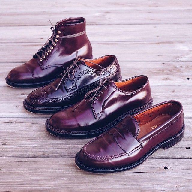burgundy alden shoes