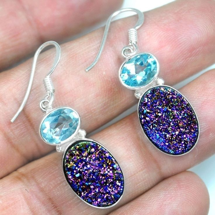 Fine 6.43 Grams 925 Sterling Silver Hand Made Druzy Blue Topaz Earrings Jewelry #Unbranded #Stick