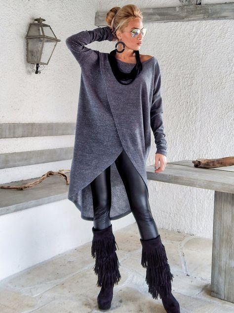 Grauen Winter Warm aus Gewirken asymmetrischen Bluse / Tunika Winter Warm Gray / Assymetrischer Bluse / Übergröße lose Bluse / #35142