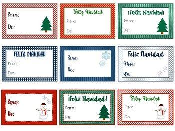 Christmas gift tags in Spanish / Etiquetas de regalo en español