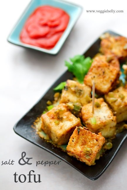 Chinese Salt and Pepper Tofu Restaurant Style. This vegan salt and pepper tofu recipe is a great dish to entertain with. I either serve it as an appetizer with tooth picks, or I serve it as an entree with some brown rice. All the components of this recipe can be made ahead and put together just before serving. This is a truly fancy, delicious, vegan, Chinese dish and it tastes like something you'd get at a restaurant. from veggiebelly.com
