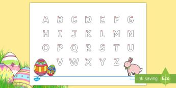 Easter Uppercase Alphabet Tracing Activity Sheet - Australia, EYLF,  Easter, literacy, writing, letter formation, Worksheet