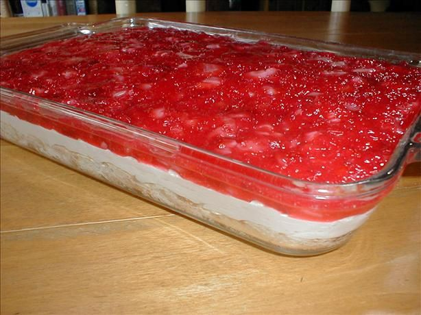 Strawberry Heaven from Food.com: This dessert is always the first to go at any gathering. It is light and refreshing and perfect during strawberry season.