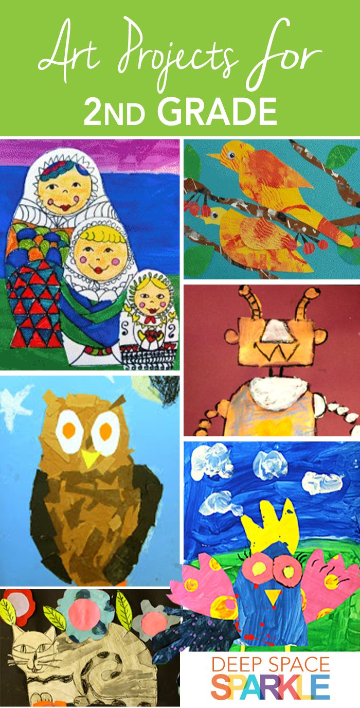100 Art Projects for Second Grade Students. Project ideas and lesson plans include: art collages, painting, mixed media, clay and many more!