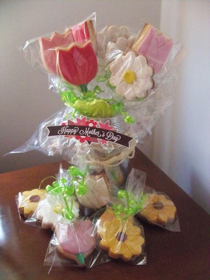 Tulipanes y margaritas en galletas, ideales para Mamá
