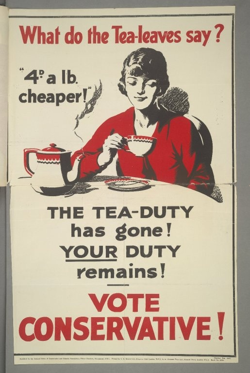 British Conservative Party poster, 1929: What to the Tea-leaves say?