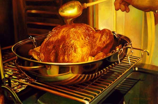 Mary Pratt (b. 1935), Basting the Turkey. 2003. Oil on canvas. 40.6 x 43.2 cm. Collection of Michael and Inna O'Brian. Photography: Ned Prat...