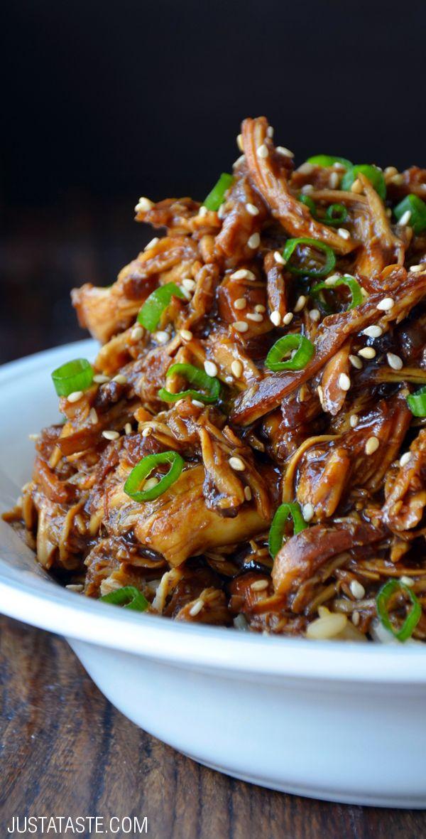 Slow Cooker Honey Garlic Chicken #recipe from justataste.com
