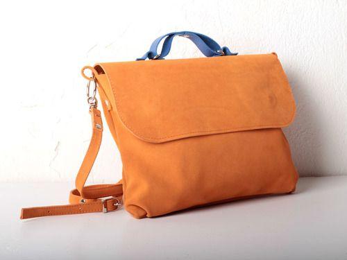 Оранжевая сумка из замши под размер A4