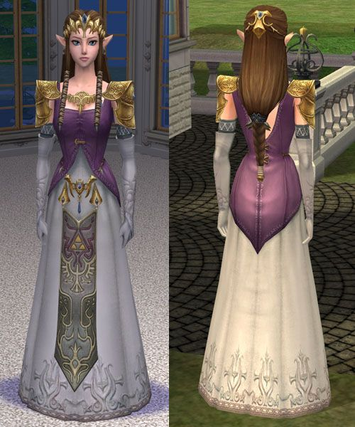 ModTheSims - Princess Zelda - Sim, dress, and hair
