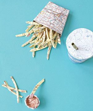 Paper construction of french fries and soda by Matthew Sporzynski. For Real Simple magazine