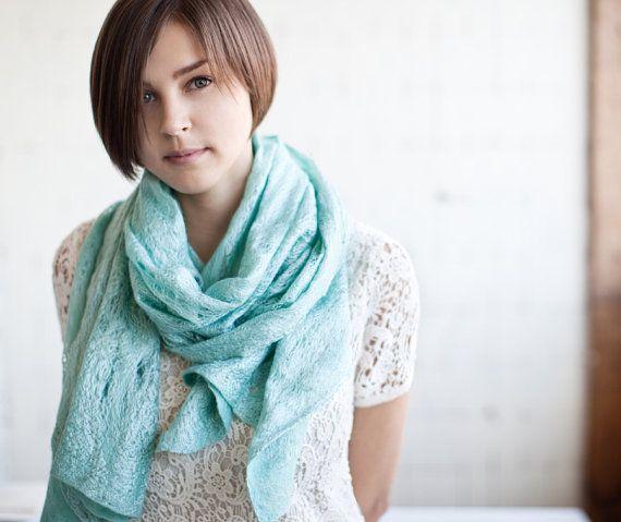 Mint scarf cobweb shawl scarf for all seasons felting wool luxury cape wedding bridesmaid idea autumn fashion