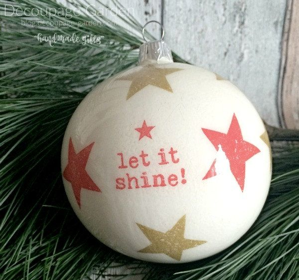 Let It Shine Christmas decoration, Christmas Ornament, Let it Shine Christmas Glass Bauble by DecorativeGarden on Etsy