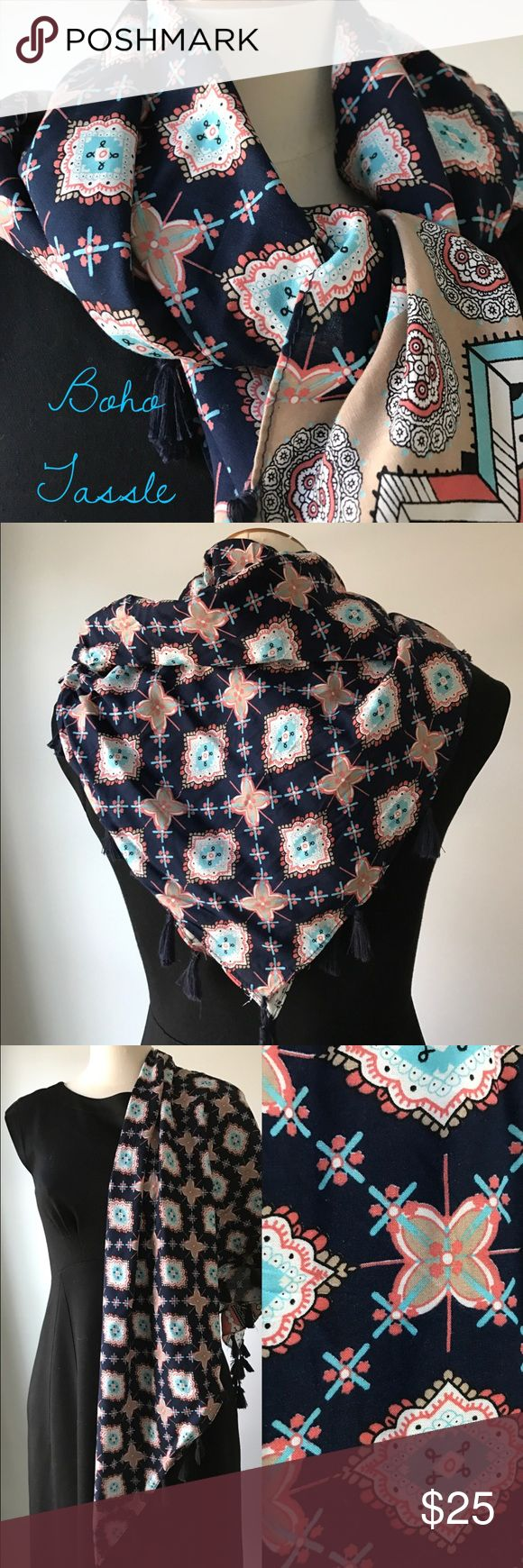 BOHO Tassle Scarf Pretty pattern...pretty colors in this cotton scarf.  Navy, orange, aqua and white with navy tassels. NWOT. Pristine. Great for spring/summer. Multi-purpose square. Wear as a scarf or pareo. Accessories Scarves & Wraps
