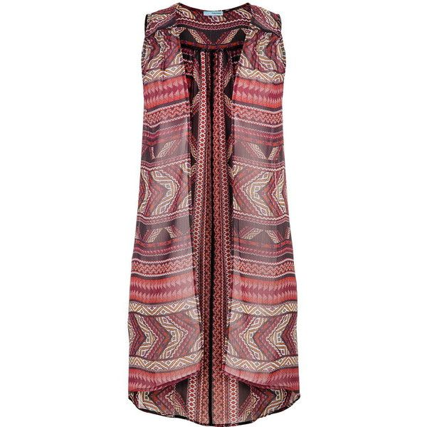 maurices Chiffon Duster Vest In Ethnic Print ($29) ❤ liked on Polyvore featuring outerwear, vests, multi, maurices, red vest, chiffon vest, lightweight vest and pattern vest