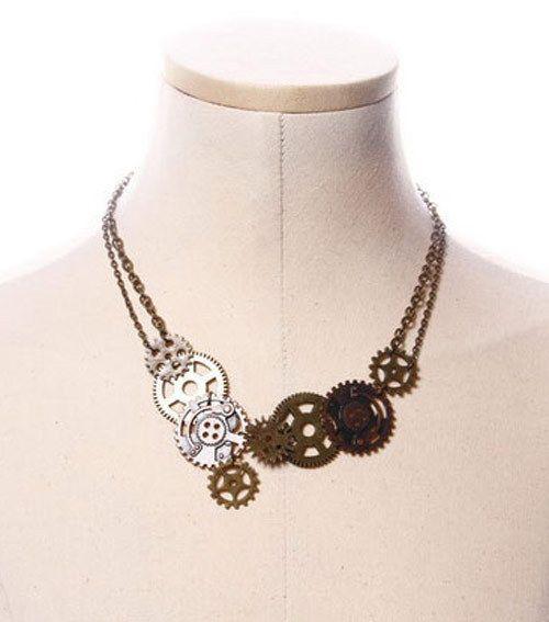 Collier chaine steampunk à engrenages RQ-BL