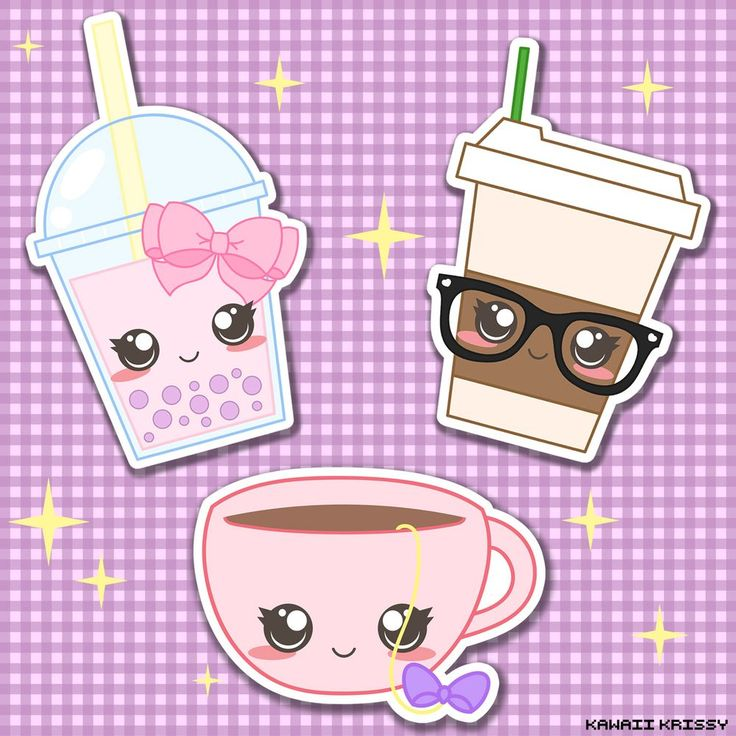 Kawaii Bubble Tea, Cute Chic Coffee, and Cute Tea Cup custom Stickers at kawaiikrissy.tictail.com