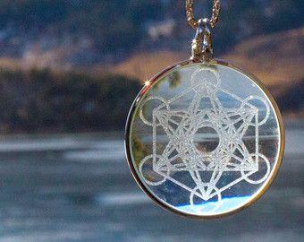 Metatron Cube Solar Magnifying Glass Pendant, Functional Jewelry #3