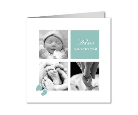 faire part naissance vert et blanc avec petits pas de bebe