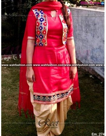 Give yourself a stylish & stunning look with this Ravishing Red And Cream Embroidered Punjabi Suit. Embellished with Embroidery work and lace work. Available with matching bottom & dupatta. It will make you noticable in special gathering. You can design this suit in any color combination or in any fabric. Just whatsapp us for more details.  For more details whatsapp us: +919915178418