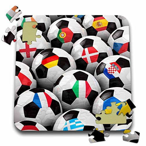 Carsten Reisinger Illustrations  England Germany Portugal Spain DM Czech Republic Italy France Greece Ukraine flags on Soccer balls  10x10 Inch Puzzle pzl_155022_2 ** Click on the image for additional details.Note:It is affiliate link to Amazon.