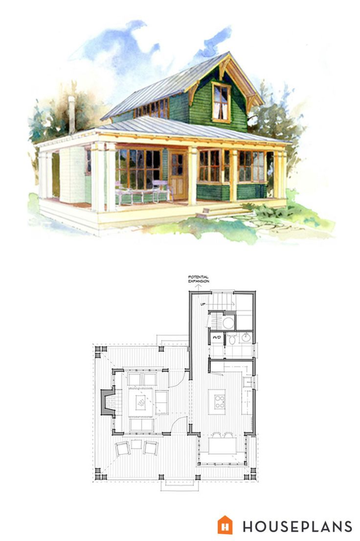Small 1 bedroom beach cottage floor plans and elevation by for Cottage blueprints and plans