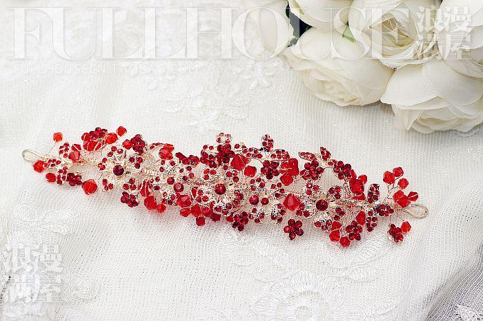 Корейский ручной белый кристаллический свадебный головной убор свежие красные оголовье свадебные платья невесты аксессуары для волос с ювелирными изделиями - Taobao
