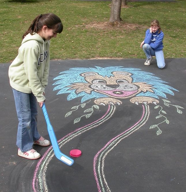 Play mini golf at home using Crayola sidewalk chalk and your imagination!