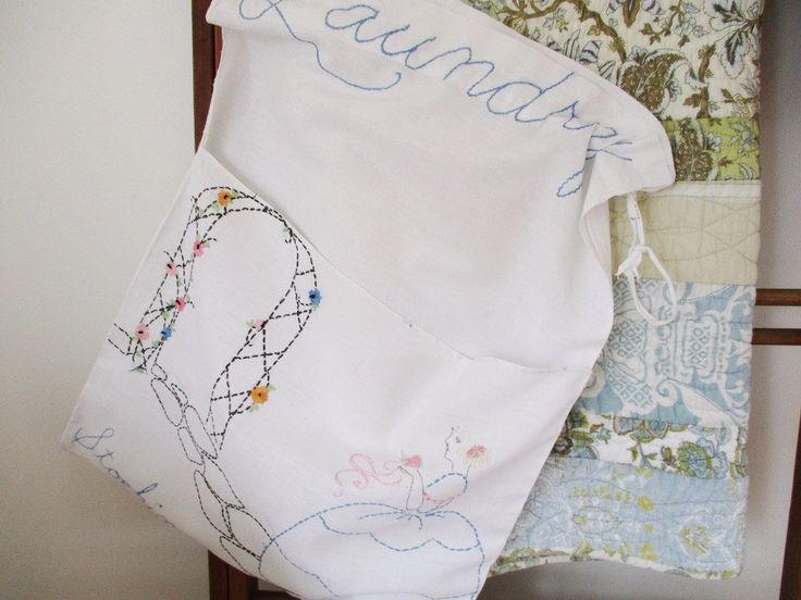 VINTAGE LAUNDRY BAG, cotton bag with embroidery, drawstring top, front stocking pocket, white cotton boudoir accessory, excellent condition