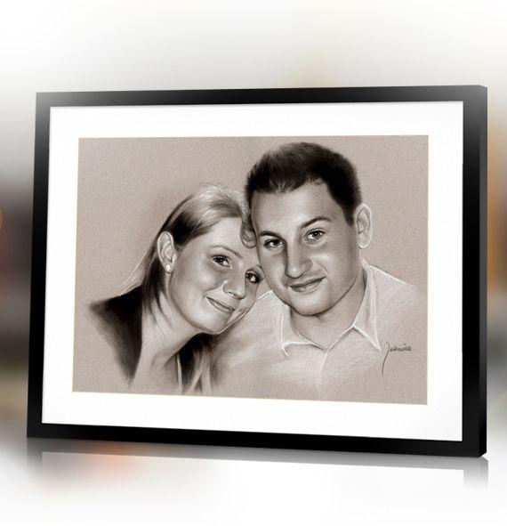 Valentine's Day custom couple handmade portrait from photo by Jacek Jaśkowiak PortraitsBuy