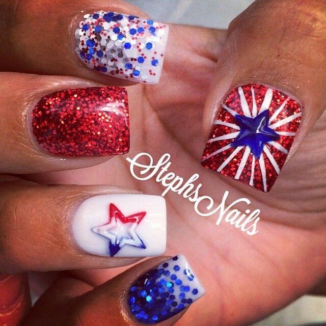 Patriotic nails #stephnails 🇱🇷💙❤️