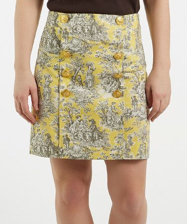 Yellow & Gray Floral Military-Style Skirt #zulily #zulilyfinds